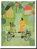 Cat And Bicycle Stretched Canvas Print by Mia Charro