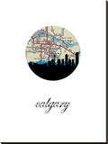 Calgary Map Skyline Stretched Canvas Print
