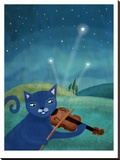Cat And Violin Stretched Canvas Print by Mia Charro