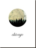 Chicago Map Skyline Stretched Canvas Print