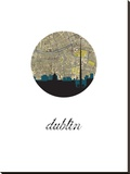 Dublin Map Skyline Stretched Canvas Print