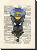 Cat Nefertiti Stretched Canvas Print by Matt Dinniman