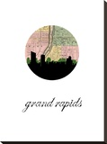 Grand Rapids Map Skyline Stretched Canvas Print