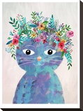 Flower Cat 2 Stretched Canvas Print by Mia Charro