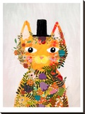 Flower Cat Stretched Canvas Print by Mia Charro