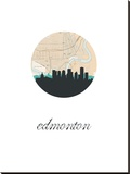 Edmonton Map Skyline Stretched Canvas Print