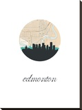 Edmonton Map Skyline Stretched Canvas Print
