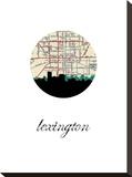 Lexington Map Skyline Stretched Canvas Print