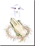 Lamb Pray Stretched Canvas Print by Suren Nersisyan