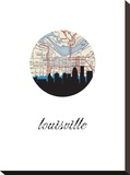 Louisville Map Skyline Stretched Canvas Print