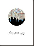 Kansas City Map Skyline Stretched Canvas Print