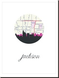 Jackson Map Skyline 2 Stretched Canvas Print