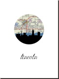 Lincoln Map Skyline Stretched Canvas Print