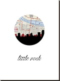 Little Rock Map Skyline Stretched Canvas Print