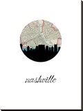 Nashville Map Skyline Stretched Canvas Print