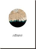Ottawa Map Skyline Stretched Canvas Print