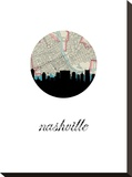 Nashville Map Skyline Stretched Canvas Print