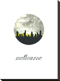 Melbourne Map Skyline Stretched Canvas Print