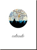 Orlando Map Skyline Stretched Canvas Print