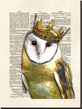 Owl King Stretched Canvas Print by Matt Dinniman