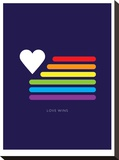 Love Wins Rainbow Flag Stretched Canvas Print by Brett Wilson