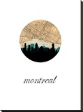 Montreal Map Skyline Stretched Canvas Print