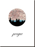 Prague Map Skyline Stretched Canvas Print