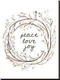 Peace Love Joy Stretched Canvas Print by  Jetty Printables