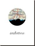 Saskatoon Map Skyline Stretched Canvas Print