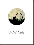 Saint Louis Map Skyline Stretched Canvas Print