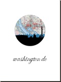 Washington Dc Map Skyline Stretched Canvas Print