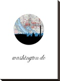 Washington Dc Map Skyline Stretched Canvas Print