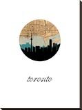 Toronto Map Skyline Stretched Canvas Print