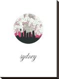 Sydney Map Skyline Stretched Canvas Print