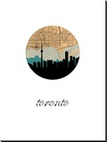 Toronto Map Skyline Stretched Canvas Print