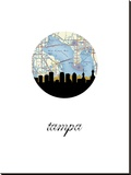 Tampa Map Skyline Stretched Canvas Print