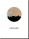 Victoria Map Skyline Stretched Canvas Print