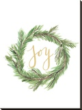 Wreath Joy Stretched Canvas Print by  Jetty Printables