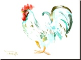 White Rooster Stretched Canvas Print by Suren Nersisyan