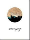 Winnipeg Map Skyline Stretched Canvas Print