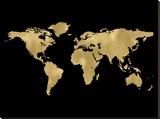 World Map Golden Black Stretched Canvas Print by Amy Brinkman