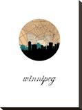 Winnipeg Map Skyline Stretched Canvas Print