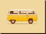 Yellow Van Stretched Canvas Print by Florent Bodart