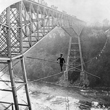 Dixon Crossing Niagara on a Tightrope Photographic Print by George H Barker