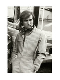 Man in Striped Denim Jumpsuit and Bandana Leaning Against a Truck with a Cigarette Regular Giclee Print by Bruce Weber