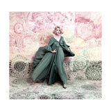 Pose Against a Mural of Swirling Roses, Model Wearing Blue Float of Peignoir in Blue Nylon Yarn Regular Giclee Print by William Bell