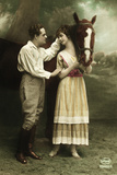 Couple Standing next to Horse Photographic Print