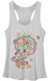 Juniors Tank Top: Looney Tunes- Floral Tweety Shirts