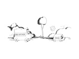 "A car labeled ""Dog Catcher"" chases a car labeled ""Dog"" that is driven by a... - New Yorker Cartoon Premium Giclee Print by Liana Finck"