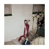 Model on Stairs Wearing Red Silk Cr-Pe Evening Dress Regular Giclee Print by Henry Clarke